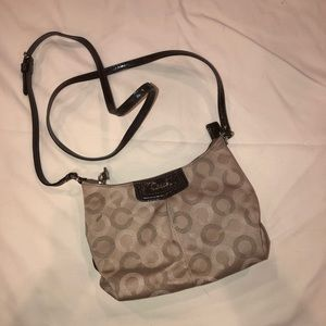 Coach small crossbody bag in tan and brown